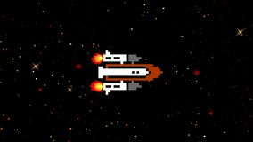 Shuttle flying in space in arcade game style. 8 bit arcade video game graphic vector illustration