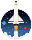 Shuttle Flying in the Space with Stars. A cartoon space shuttle takes off from a planet to explore the universe, on a circular dark blue outer space background Stock Photography