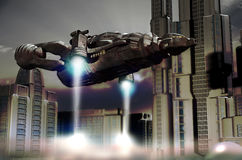 Shuttle landing in future city. Futuristic city where a spatial shuttle is landing Royalty Free Stock Images