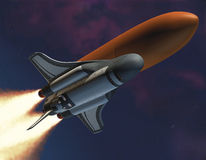 Shuttle Launch. 3D illustration of futuristic space shuttle launch Stock Photography
