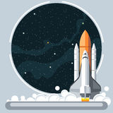 Shuttle at launch with fire and smoke and space view. Digital vector image Stock Photo