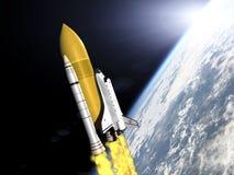 Shuttle leaving earth 3d render Royalty Free Stock Image