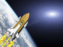 Shuttle leaving earth with galaxy flare Stock Photos