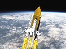 Shuttle leaving earth mid view Stock Photography