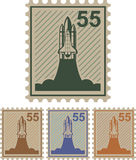 Shuttle 55 mail stamp vector Stock Image