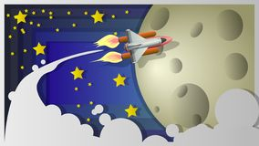 Shuttle on the moon.Illustration in the form of a collage. stock illustration