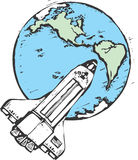 Shuttle in Orbit. Top view of the United States Space Shuttle in orbit of earth royalty free illustration