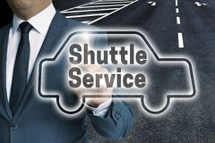 Shuttle service car touchscreen is operated by man Royalty Free Stock Photos