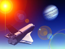 Shuttle In The Sky 37. A conceptual image of spacecraft flying towards Jupiter royalty free illustration