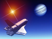Shuttle In The Sky 38. A conceptual image of spacecraft flying towards Jupiter stock illustration