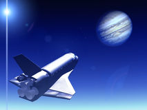 Shuttle In The Sky 42. A conceptual image of spacecraft flying towards Jupiter vector illustration