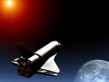 Shuttle In The Sky 50. A conceptual image of spacecraft flying towards the moon Stock Photo