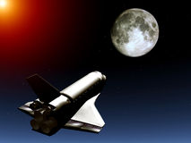 Shuttle In The Sky 55. A conceptual image of spacecraft flying towards the moon vector illustration