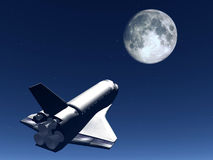 Shuttle In The Sky 58. A conceptual image of spacecraft flying towards the moon stock illustration