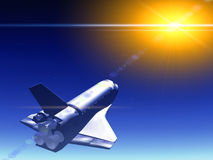 Shuttle In The Sky 69. A conceptual image of spacecraft flying away from Earth Stock Illustration