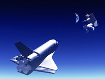 Shuttle In The Sky 72. A conceptual image of spacecraft and spaceman flying away from Earth Stock Photo
