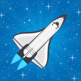 Shuttle in space. Spaceship and space background in flat style. Flying a spacecraft on the starry sky backdrop. Concept of travel to the stars. Vector vector illustration