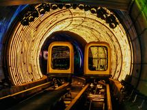 Shuttle trains in Bund Sightseeing Tunnel. Metro subway train in Shanghai City, China. Tunnel of lights under Huangpu River is one royalty free stock photography