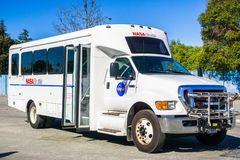 Shuttle used for carrying visitors around NASA Ames Research Center. February 12, 2018 Mountain View / CA / USA - Shuttle used for carrying visitors around NASA royalty free stock photography