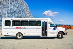 Shuttle used for carrying visitors around NASA Ames Research Center. February 12, 2018 Mountain View / CA / USA - Shuttle used for carrying visitors around NASA Stock Images