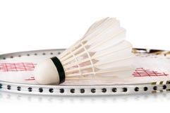 Shuttlecock на ракетке бадминтона Стоковое фото RF