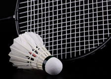 Shuttlecock and badminton racket royalty free stock images