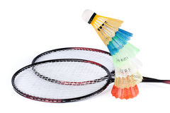 Shuttlecock and badminton racket Stock Images
