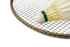 Shuttlecock on badminton racket Royalty Free Stock Photo
