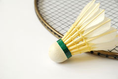 Shuttlecock on badminton racket Royalty Free Stock Image