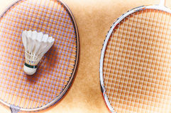Shuttlecock on badminton racket Royalty Free Stock Photography