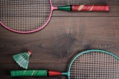 Shuttlecock and badminton racket Royalty Free Stock Photos