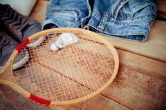 Shuttlecock on badminton racket Royalty Free Stock Image