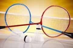 Shuttlecock on badminton racket Royalty Free Stock Images