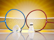 Shuttlecock on badminton racket Royalty Free Stock Photography