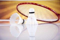 Shuttlecock on badminton racket Royalty Free Stock Photos