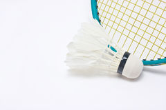 Shuttlecock with badminton racket. Royalty Free Stock Photography