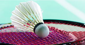 Shuttlecock on badminton rackets Stock Photo