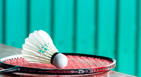 Shuttlecock on badminton rackets Royalty Free Stock Images