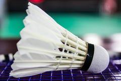 Shuttlecock on badminton rackets Stock Images