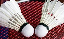 Shuttlecock on badminton rackets Royalty Free Stock Photos