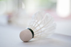 Shuttlecock for badminton on the table. Light shuttlecock for badminton, closeup Royalty Free Stock Images