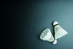 Shuttlecock  on black background with copy space. Royalty Free Stock Photo