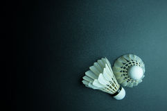 Shuttlecock  on black background with copy space. Stock Images
