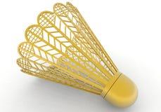 shuttlecock d'or de raquette de badminton Photographie stock libre de droits