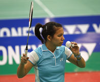 Shuttlecock do saque da mulher de Bélgica do Badminton Imagem de Stock Royalty Free