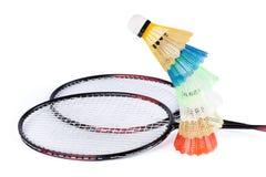 Shuttlecock e raquete de badminton Imagens de Stock