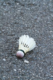 Shuttlecock on the floor Royalty Free Stock Photo