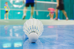 Shuttlecock on the floor with badminton player. Top view of red sport shoes on green background Stock Photos