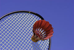Shuttlecock hitting racket Stock Photos