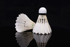 Shuttlecock and its reflection Royalty Free Stock Images